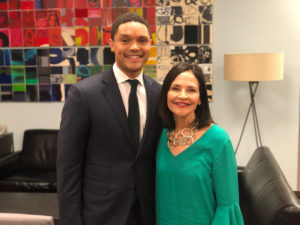 Omaze winner, Shelley Friend with The Daily Show Host, Trevor Noah